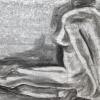 """""""Dame assise"""", fusain-papier/laminé-38x25po, disponible"""