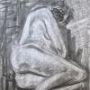 """""""Femina allongée"""", fusain-papier/laminé-38x25po, disponible"""