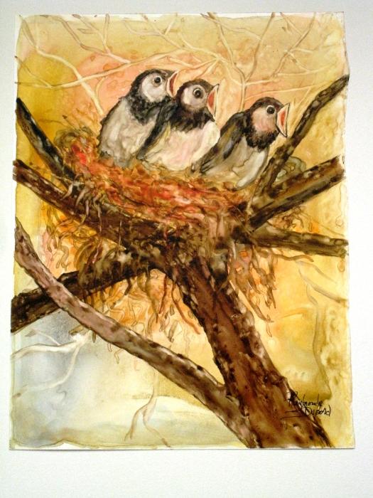 Les trois oiselets (aquarelle)