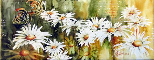 Hélene Charland - La danse en ligne - aquarelle 8x20 pouces