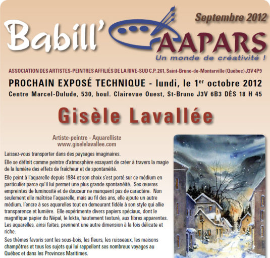 Babill'AAPARS de septembre 2012