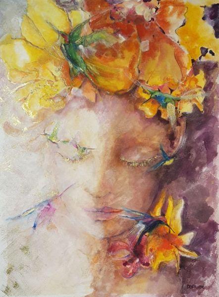 Jeune fille aux colibris