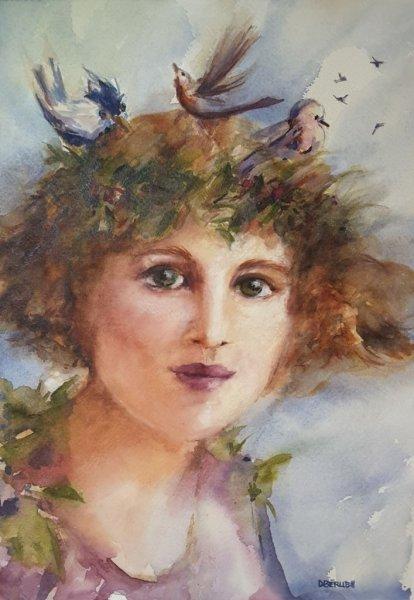 Jeune fille aux oiseaux