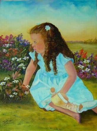 Petite fille dans les fleurs