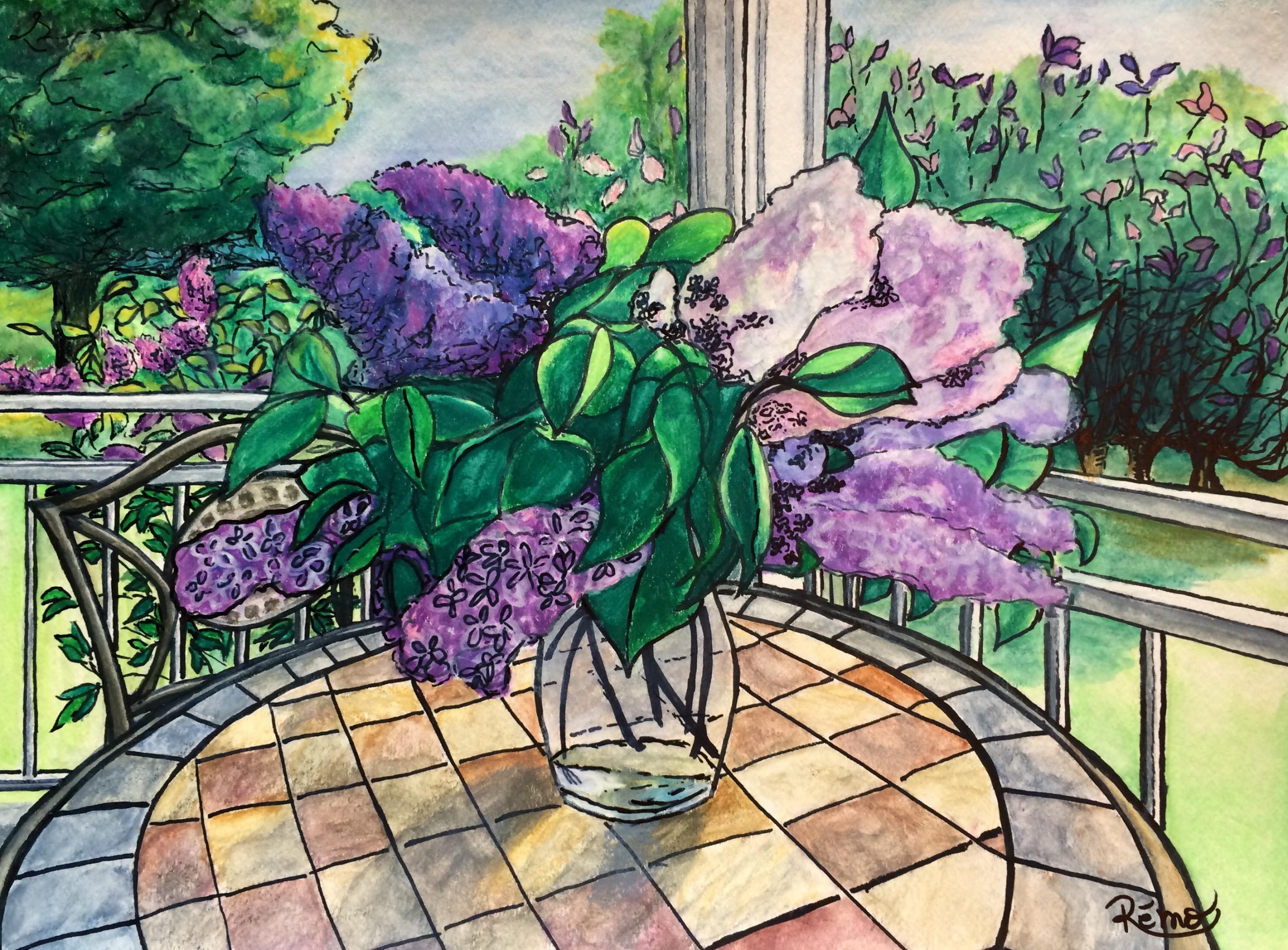 Le temps des lilas (15x11) Encre et pastel aquarellé,  250$ non encadré