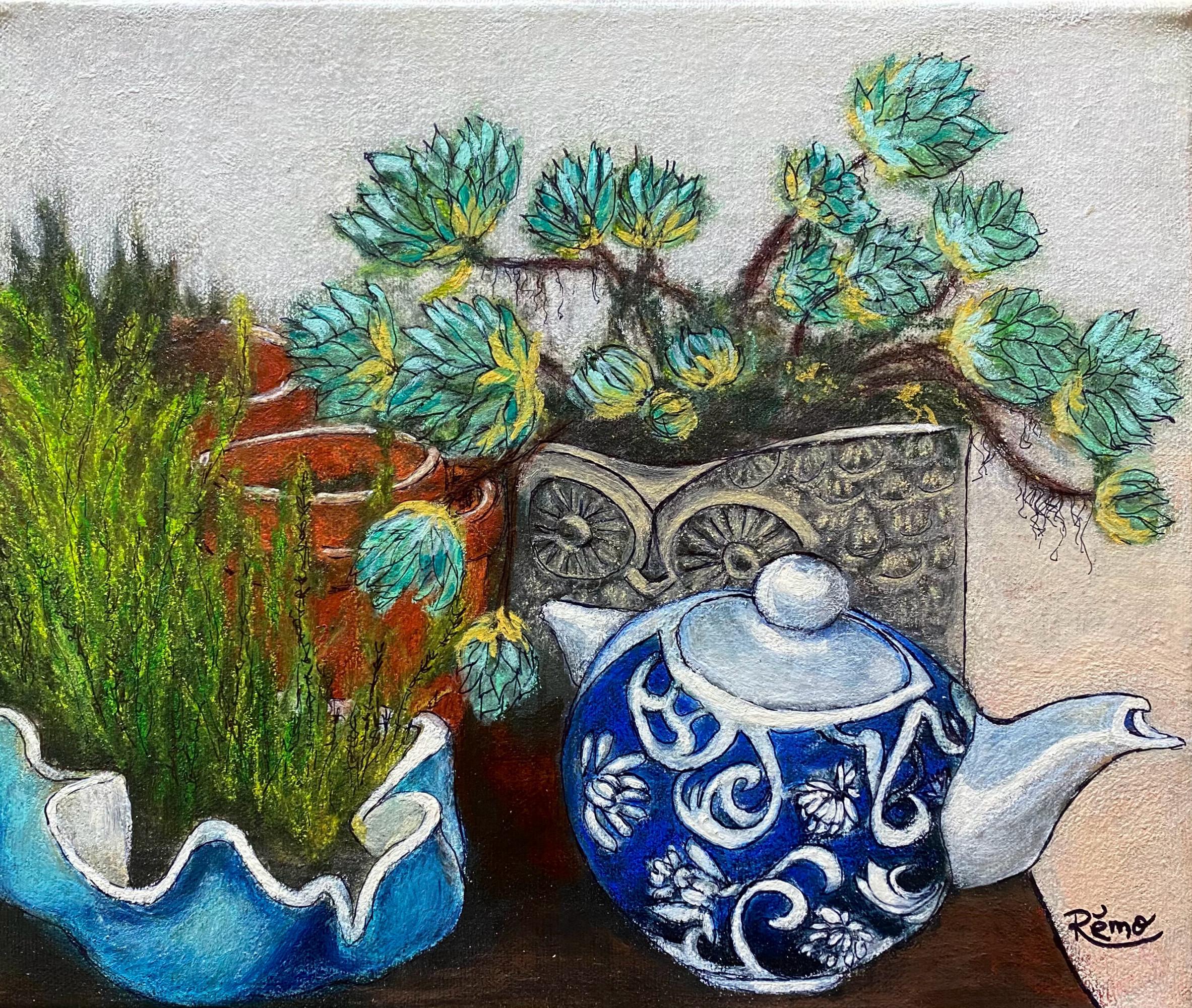 Petit coin de jardin (12x10) Encre, acrylique et pastel aquarellé, Non disponible