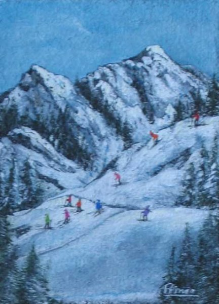 Les skieurs 14 x 11