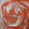"""""""Silhouette de feu"""", crayon conté-papier/laminé, 25x19po, disponible"""