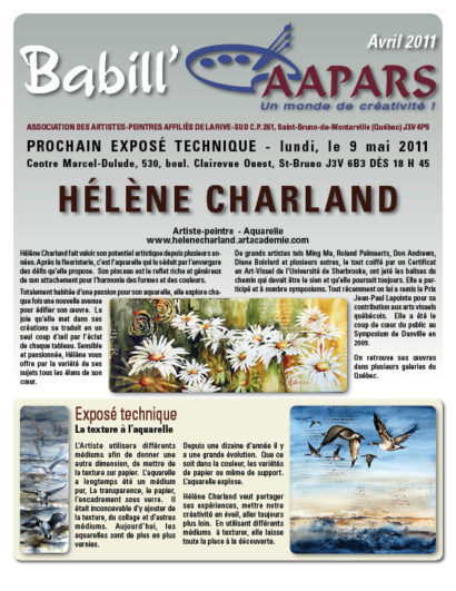 Couverture Babill'AAPARS avril 2011