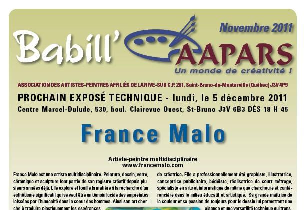 Couverture Babil'AAPARS novembre 2011