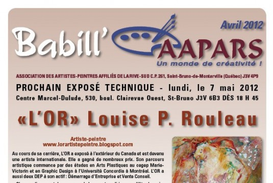 Couverture, BabillAAPARS d'avril 2012