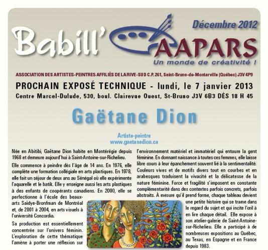 Babill'AAPARS de décembre 2012 - couverture